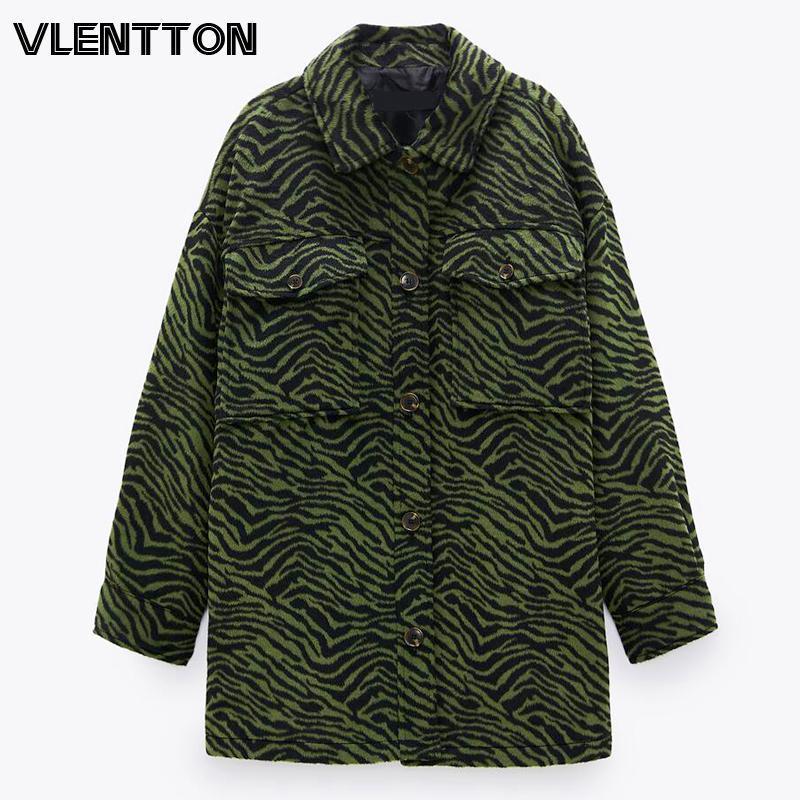 2021 outono inverno vintage zebra cópia camisa jaqueta mulheres chique botão solto casaco quente feminino outwear casual tops senhoras