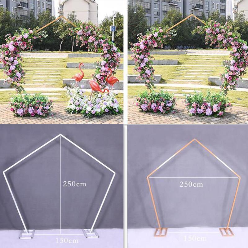 Pentágono arco quadro metal quadrado arco arco base posto arquitetura definição de pré-jardim flores decoração festa decoração supli