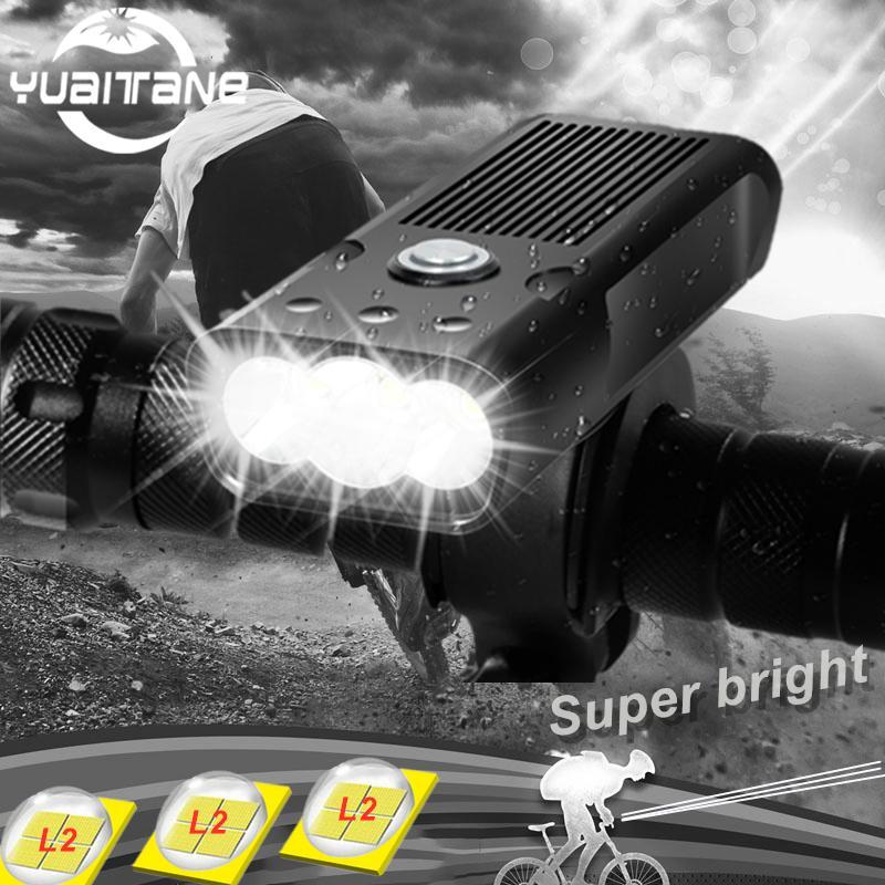3L2 5200mAh LED luz de bicicleta front USB recarregável para a bicicleta IPX5 Lanterna impermeável para acessórios de bicicleta de ciclismo 201126