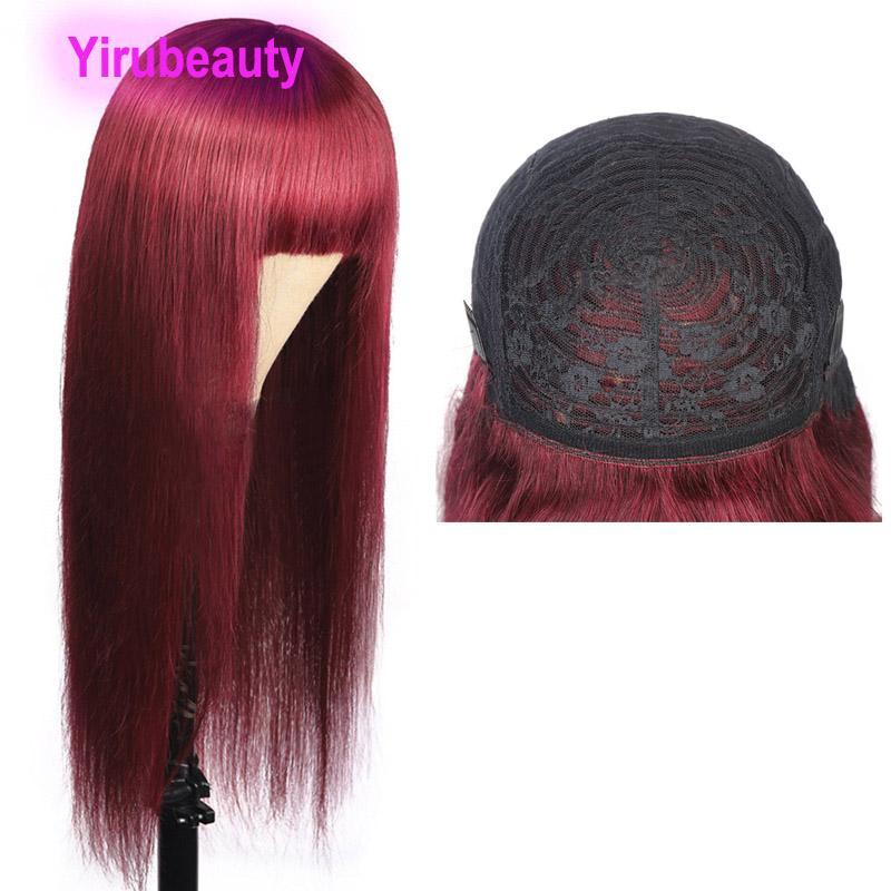 99J بيرو الإنسان الشعر الكامل آلية حريري مستقيم النبيذ الأحمر 99J مستقيم 10-32 بوصة 150٪ الكثافة بالجملة ريمي الشعر كابليس الباروكات
