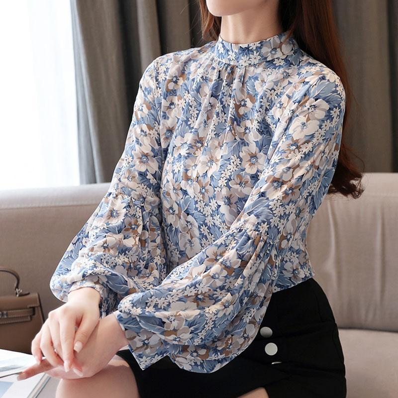Blouse women 2020 spring chiffon Spliced Floral Stand lantern Sleeve womens clothing ladies tops women long sleeve shirts 0507