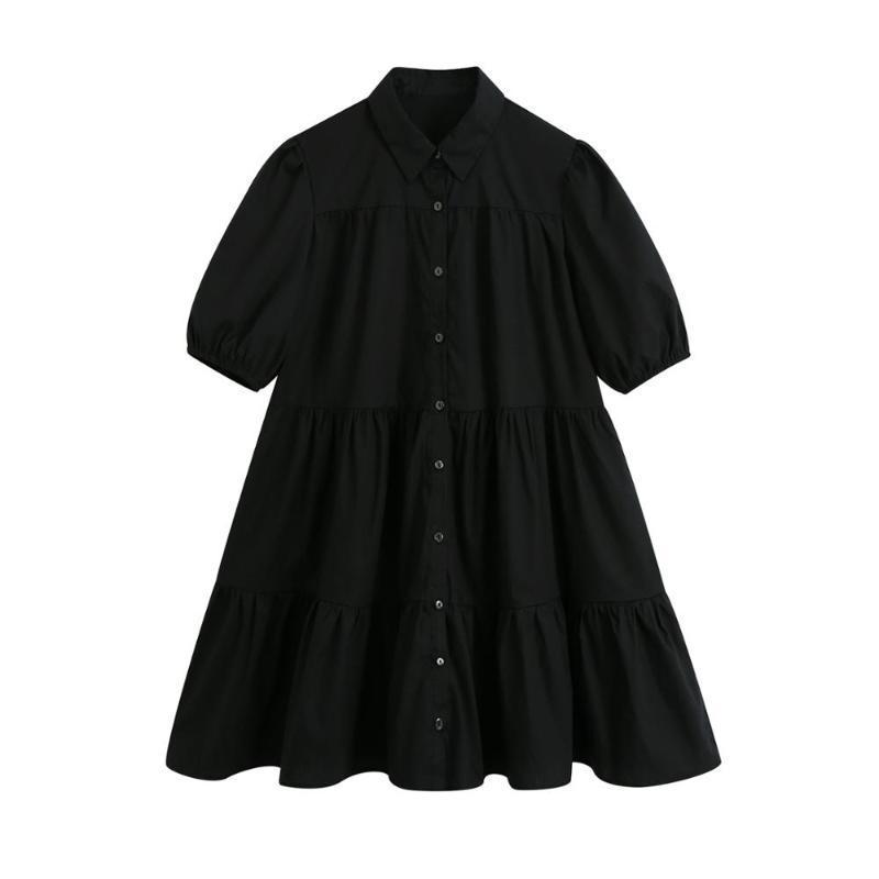 캐주얼 드레스 여성 턴 다운 칼라 퍼프 슬리브 블랙 셔츠 드레스 Femme 미니 계층 레이디 루즈 옷 Vestido D6352