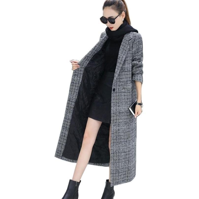 Moda Kadınlar Yün Ceket Ekose Klasikleri Kadın Gevşek Uzun Tek Göğüslü Mont Sonbahar Kış Ceketler Siper Giyim WJ54 201215