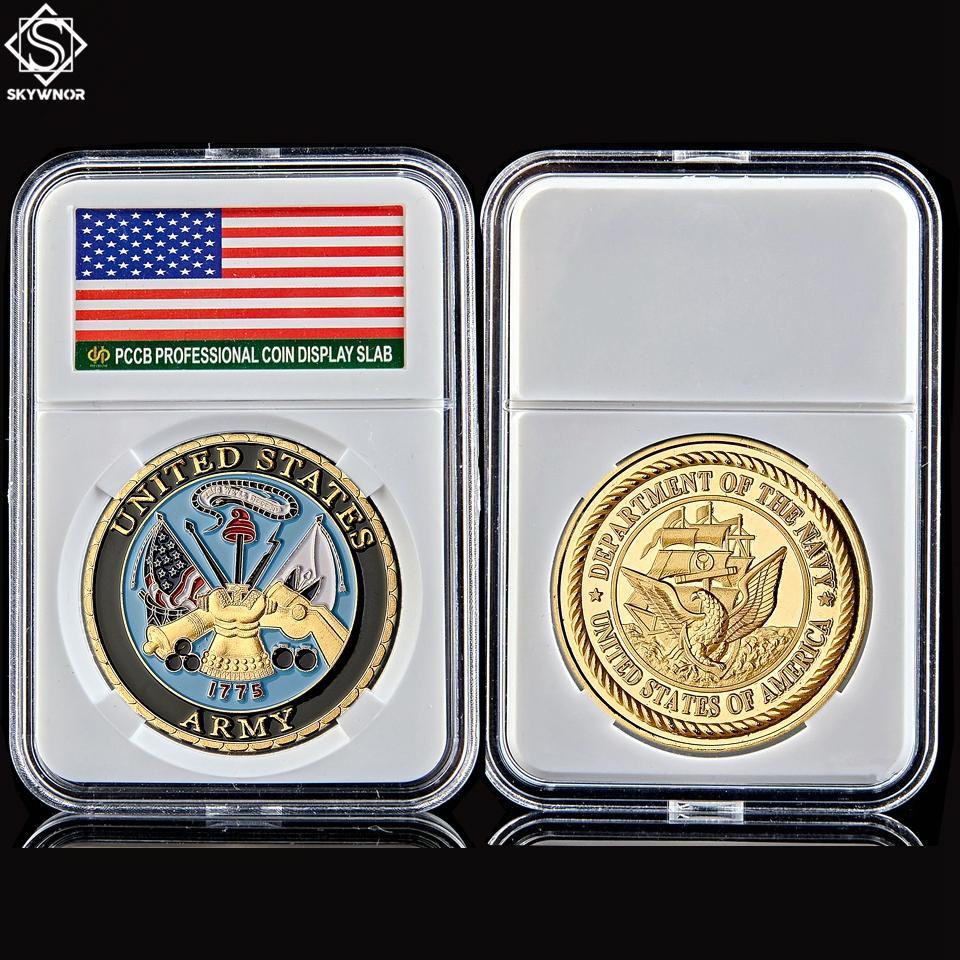 1775 США Министерство военно-морской армии NAVIE GOOL COLOR Новинка Памятная военная вызов монета W / PCCB