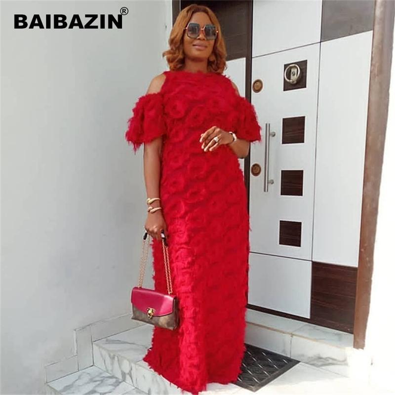 Baibazin Novos Vestidos Africanos para Mulheres Moda Feminina Rodada Pescoço Off-the-Ombro de manga curta Tecido especial de pele solto vestido T200713