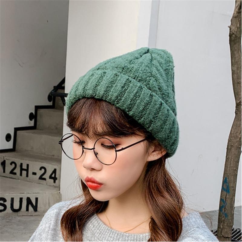 Beanies 2021 Katı Renk Kış Şapka Kadınlar Için Kaşmir Örme Kalın Sıcak Vogue Bayanlar Kadın Bere Şapka1