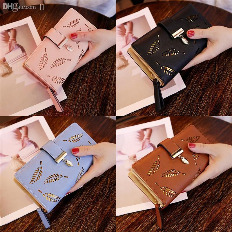 Femmes laisse Portefeuille creuse Nouvelles feuilles Soft Pu en cuir LG G3 Pochette Womens Portefeuille portefeuille Femme Designer Portefeuille Carte # 0181