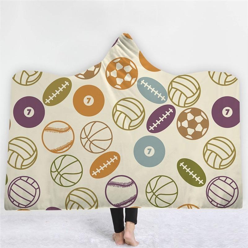 Прекрасный шариковый печать капюшона одеяло для взрослых флис носимый бросок одеяло микрофибры постельное белье 130x150см / 150cmx200cm1