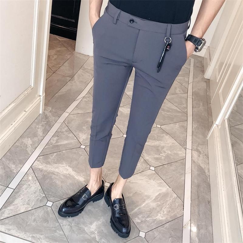 Корейские мужские костюмы брюки мода бизнес формальные брюки для мужчин Slim Fit Bandkle Длина платья брюки мужская одежда Все матч 34-28 201105