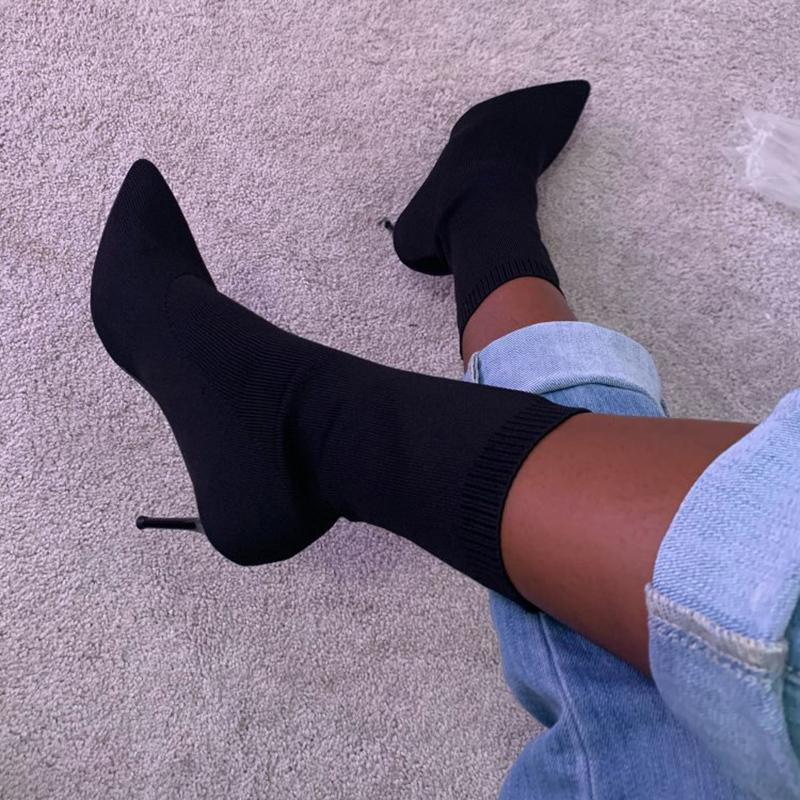 Hot Sale-Autumn Luxury Women Beige Sock Boots Exotic Dancer High Heels Stiletto Boots Winter Fashion Stretch Fabric Boots Plus Size