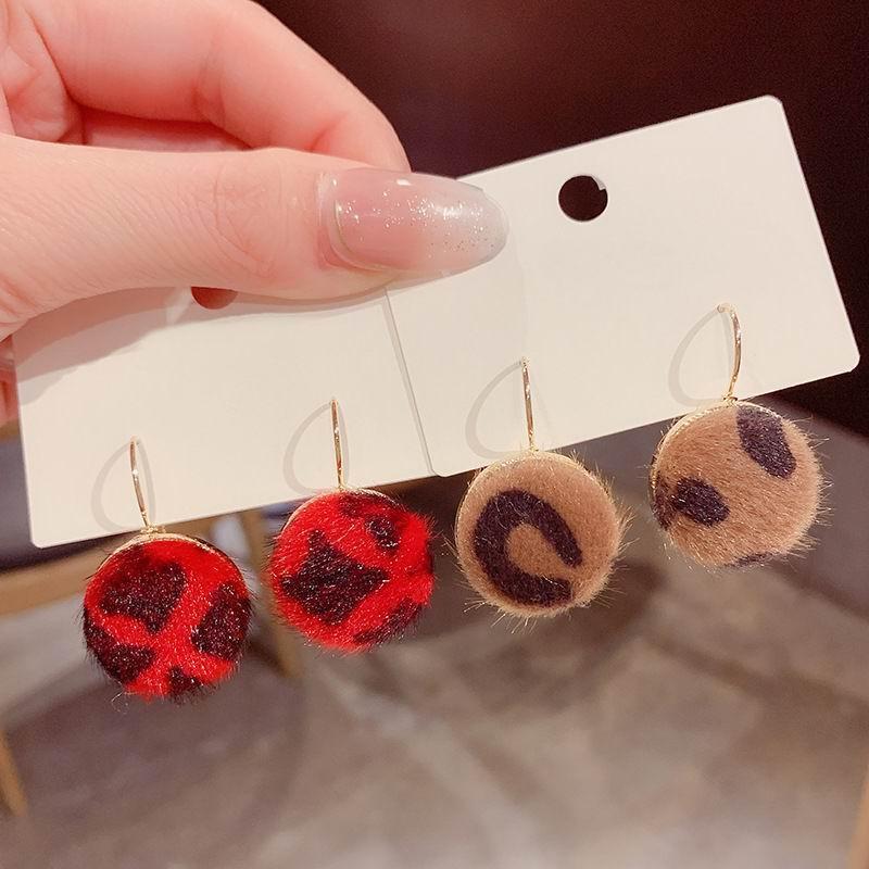 Brincos de moda do inverno estilo coreano vermelho marrom leopardo soltar jóias por atacado