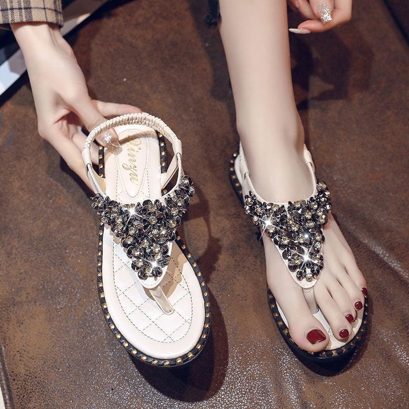 Plus Taille 43 Sexy Strass Sandales Sandales Chaussures Femme Diapositives Flip Flop Sandales Femme Sandales en cuir Sandales Filles Chaussures Y200405