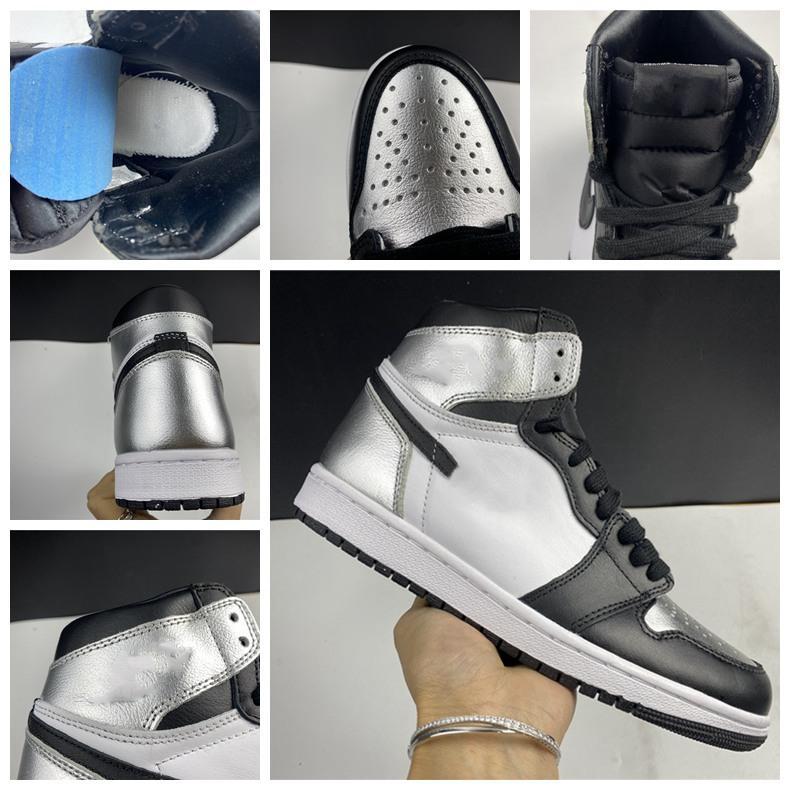 2020 Новое прибытие Jumpman 1 1 High og Бесстрашные обсидианские мужчины и женщины баскетбольные туфли запрещены серебряные пальцы мужские спортивные туфли 40-47,5