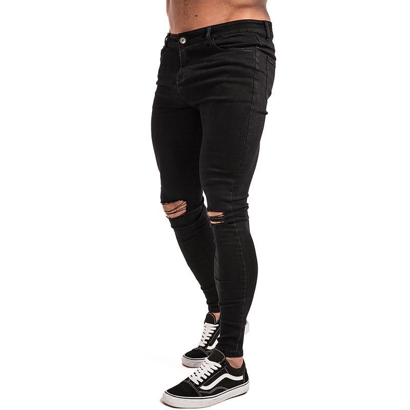 Erkekler için Gingtto Streç Yırtık Pantolon Streetwear Denim Hommes Mens Skinny Jeans ZM03 201111