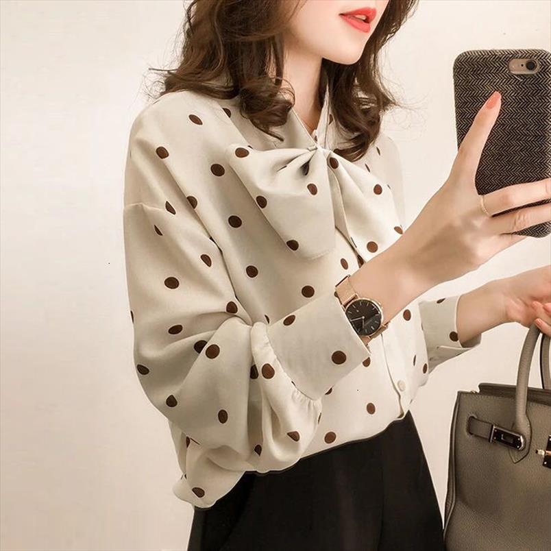 Moda donna Top e camicette a maniche lunghe Camicia da donna Chiffon Camicetta Camicia Dot Print Plus Size Feminina 1206 40