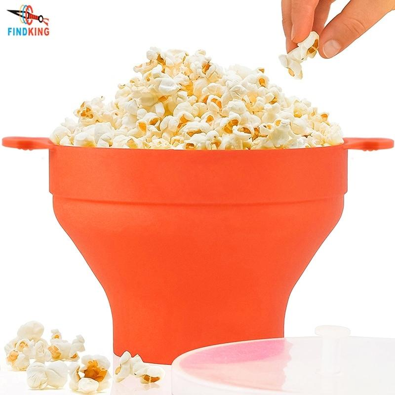 FindKing Alta Qualidade 290g Diamente Colaborável Microondas Microondas Pipoca Pipoca Popper Bowl Dobrável Silicone Popcorn Maker Y200612