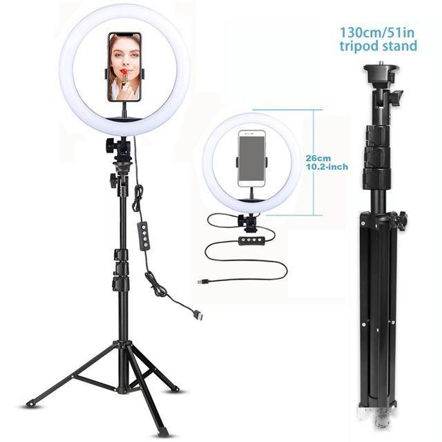 Hoto Studio Fotografie Beleuchtung LED Ringlicht 10-Zoll mit Stativständer Selfie Ringlight-Video-Fotoggraphie-Lampe für YouTube Makeup Vid ...