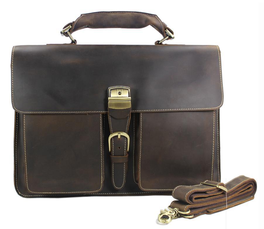"HBP Vintage Crazy Horse Genuine Men's Briefcases Business Men Leather Briefcase 15""laptop Bag Tote Handbag Large Brown Q0112"