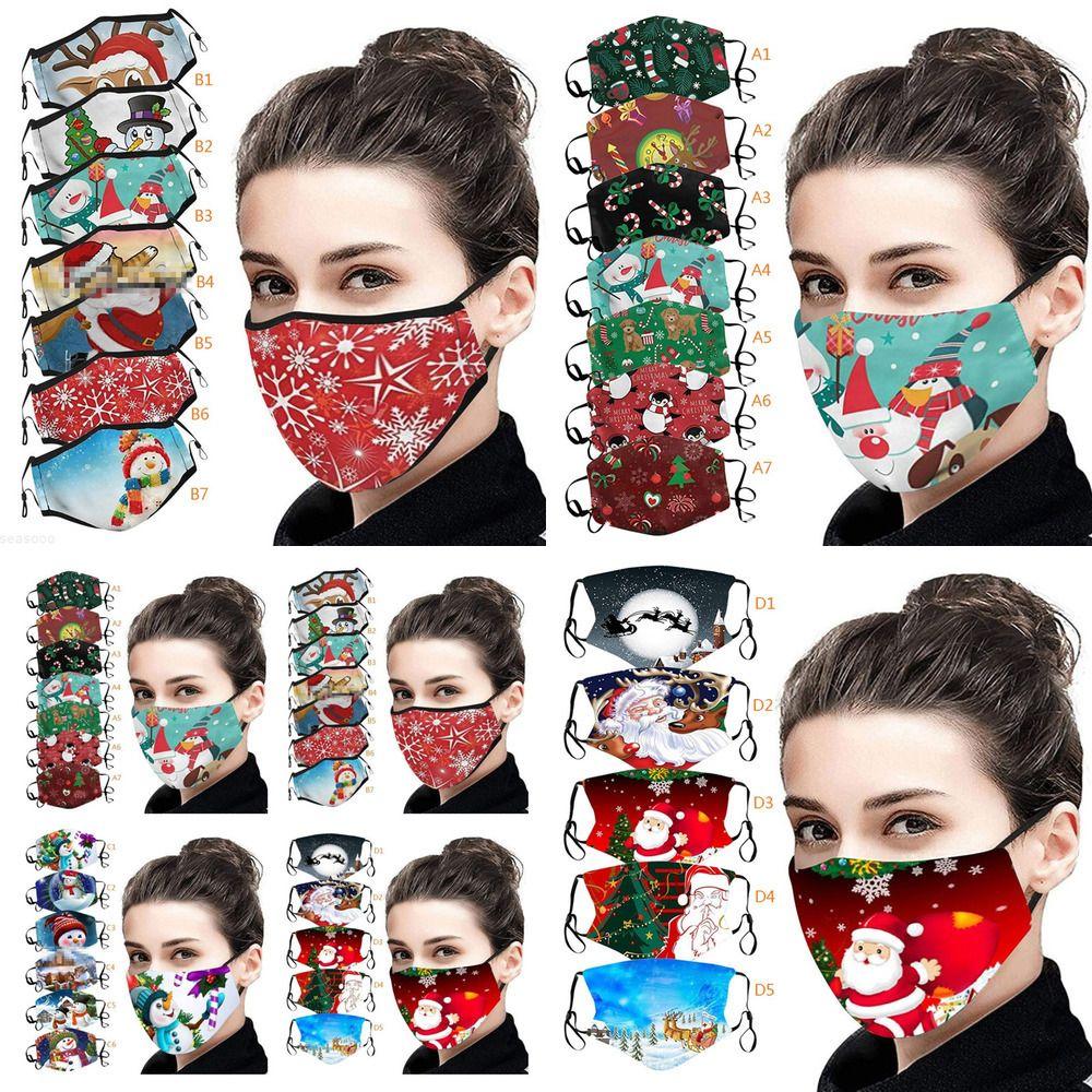 Máscara de la máscara de la cara de la Navidad Muñeco de nieve Digital Elk Santa Claus Impresión Lavable transpirable Anti-polvo Máscaras Máscaras de Diseñador FF192