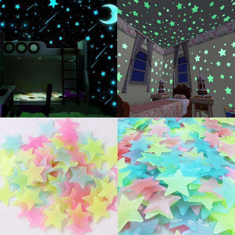 100 pcs/Set 3D Stars Glow In The Dark Wall Stickers Luminous Fluorescent Wall Stickers For Kids Baby Room Bedroom Ceiling Home Decororation