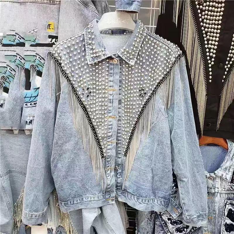 Новая роскошь 2021 дизайнерский дизайнер джинсовая женская куртка осень KPOP он пришел в стиле вечеринка улица носить E0TA LLQL