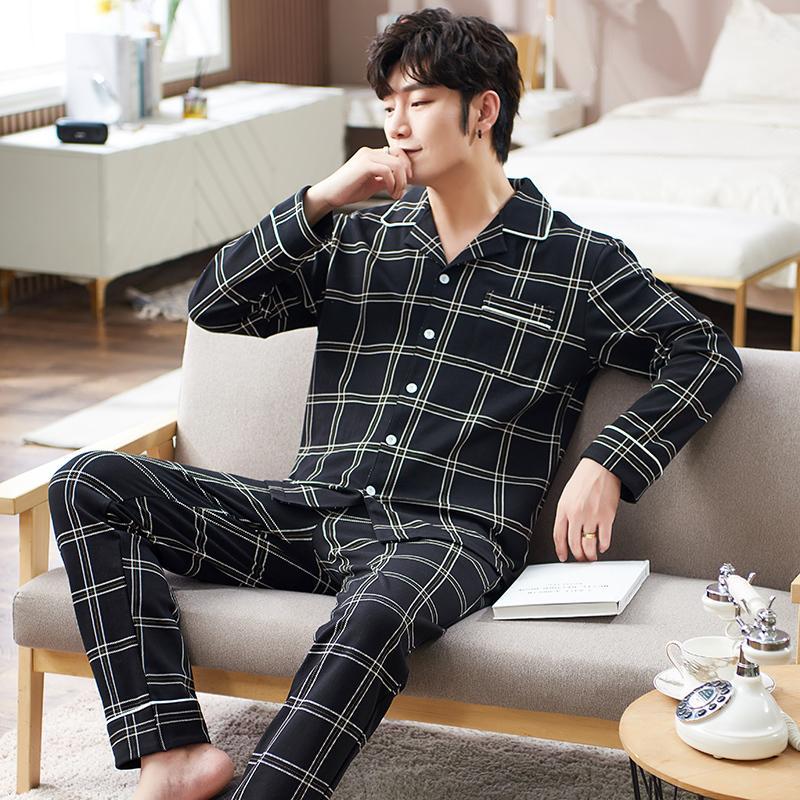 Erkekler Saf Pamuk Kollu Turn-down Yaka Pijama Moda Ekose Rahat Ev Elbise İlkbahar Sonbahar Tam Pantolon Pijama Yeni Q1202