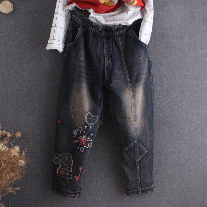 New National Style Embroidery Lavato Patch Donna Harem Denim Pants strappato Casual Signore Pantaloni da donna Autunno Jeans Streetwea