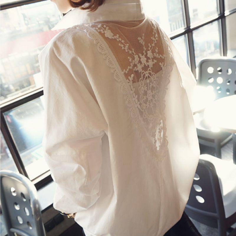 OL Kadınlar Bluz Gömlek Moda 2021 Uzun Kollu V Yaka Kadın Tops Beyaz Oymak 5XL Artı Boyutu Bayan Giyim Blusas D95 30 Q0112