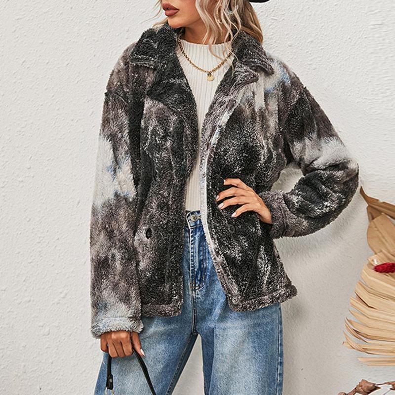 Inverno caldo Tie-Dye Faux Fur Agnello Agnello Peluche Cappotto Spessore Donne Fleece Giacca Fleece Harajuku Girls Studente Zip Outwear Streetwear