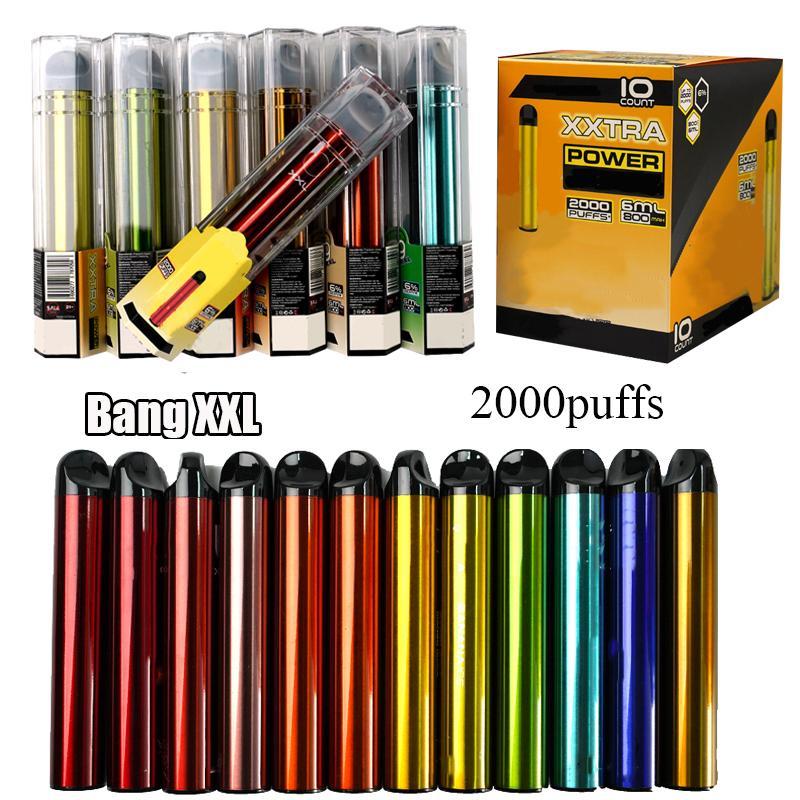 Bang XXL Vape Descartável 6ml Vape Pens 800mAh Device Pods Starter Kits Esvaziamento Descartável E Cigarros 24 Cores