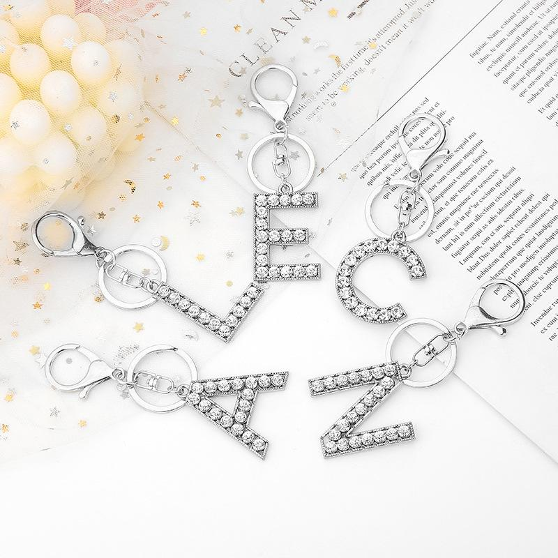 26 편지 키 체인 여성 핸드백 펜던트 키 링 골드 실버 크리스탈 알파벳 영어 문자 Keychains Keyfob Kimter-X909FZ