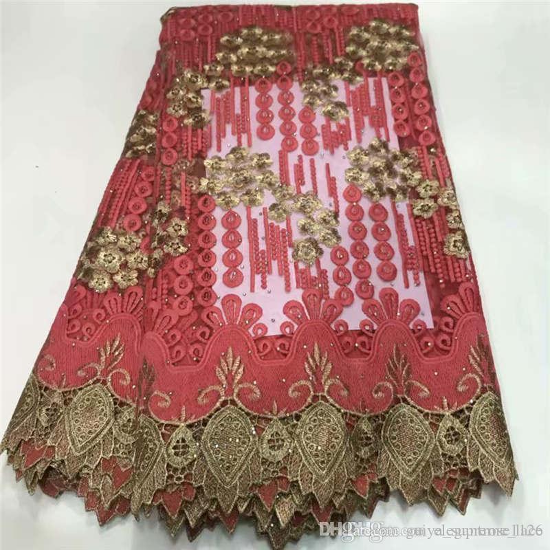 Bordado de tela de encaje francés 5 yardas con cuentas de prendas de vestir de tela de encaje de tul diamantes de imitación de la tela neta de encaje de alta calidad 699930206080