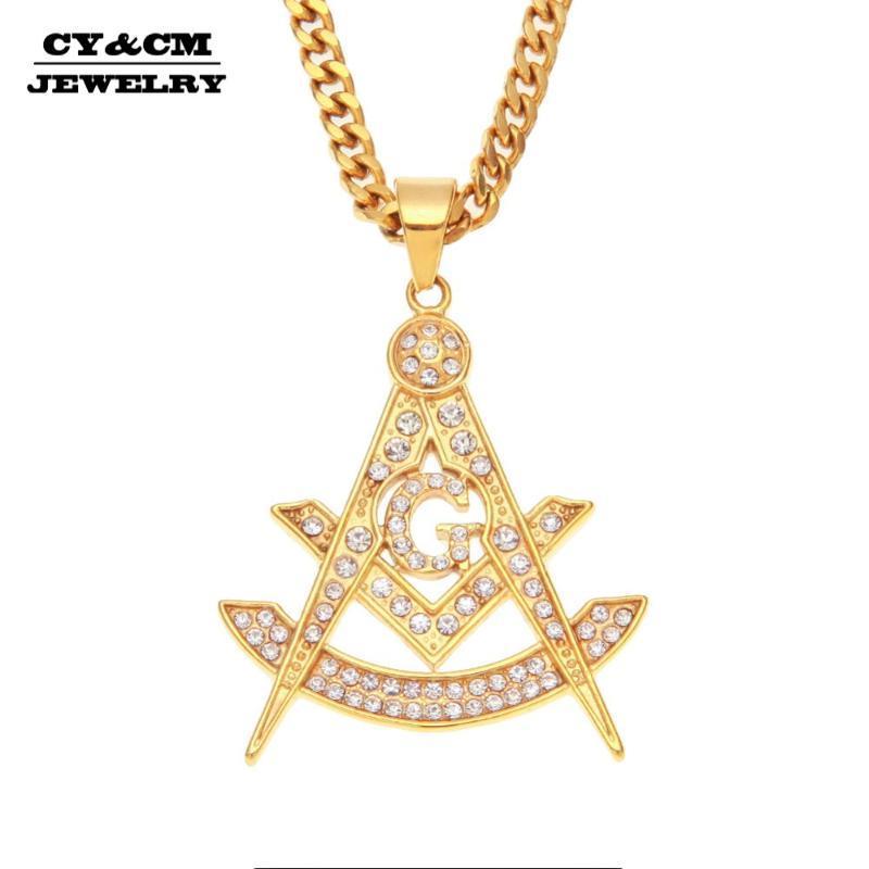 CYCM Hip Hop Buzlu Out Freemason Masonik Rhinestone Kolye Erkek Paslanmaz Çelik Takı Altın Punk Kaya Kolye Charm Kolye