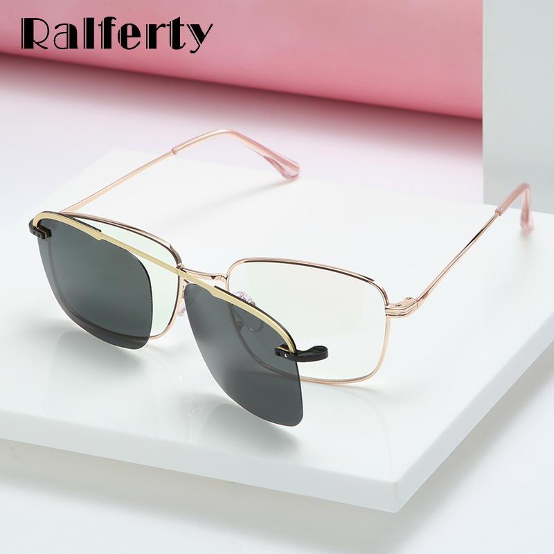 Ralferty Clip On Óculos Mulheres Homens Magnéticos Sunglass Polarized Metal Frame Myopia Prescrição Sunglasses Driver 2019 D063 J1211