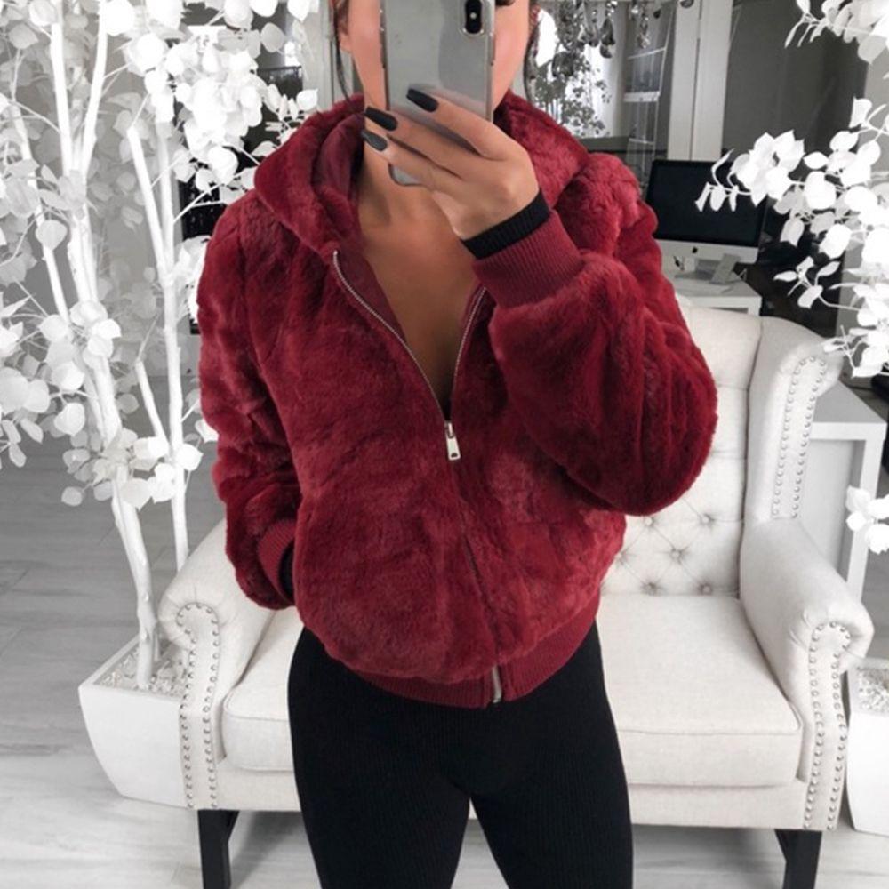 2019 Faux шубы пальто женщин зимние теплые плюшевые капюшоны куртки мода варенье плюс размер 3XL пальто женских стройных пригодных для одежды одежды Y200109