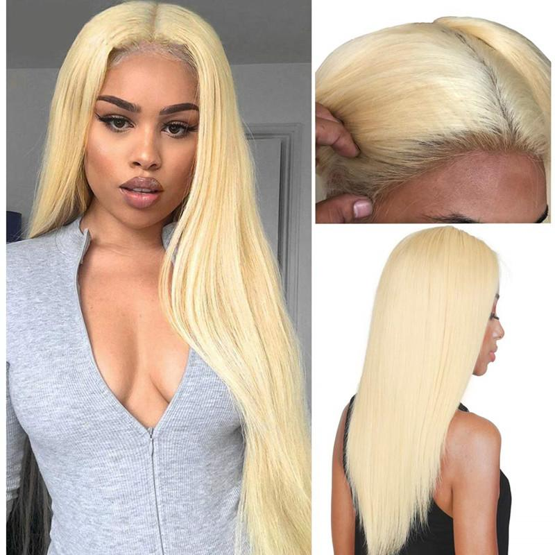 613 cheveux blonds légers doux None Dentelle Perruques synthétiques longues Silky Straight Heart Resistant Cheveux Prefiked Baby Cheveux Fashion Femmes