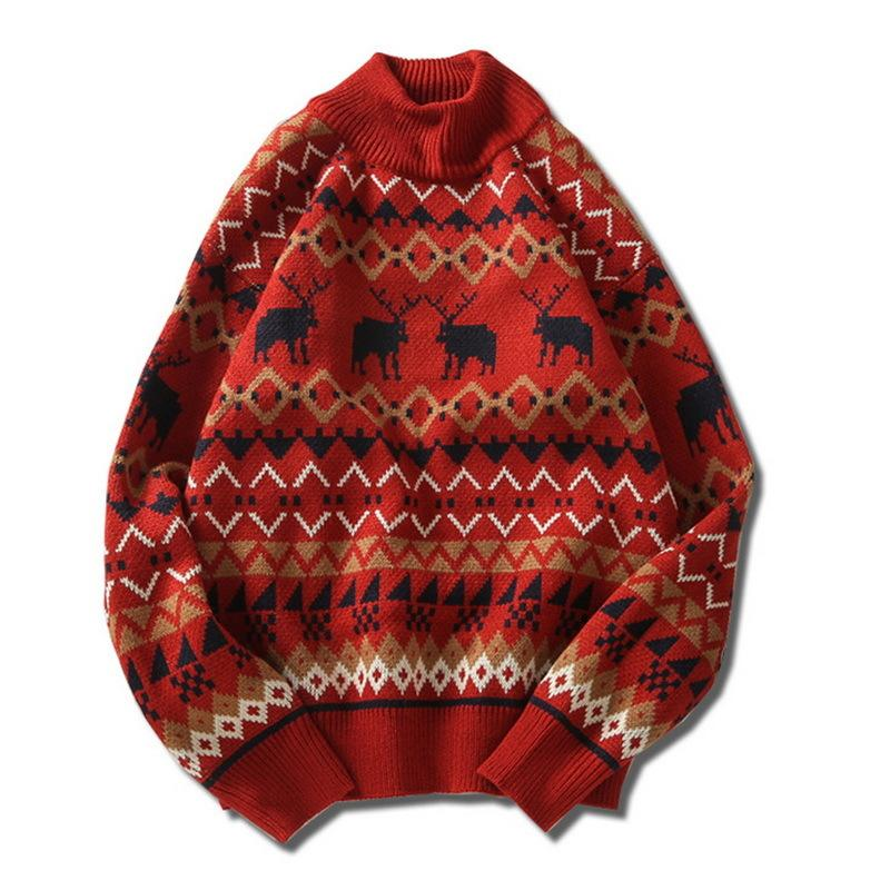 2020 Winter Autumn Men Christmas Print O Neck Slim Pullover Fashion Harajuku Sweater Mens Soft Casual Knitted Sweaters