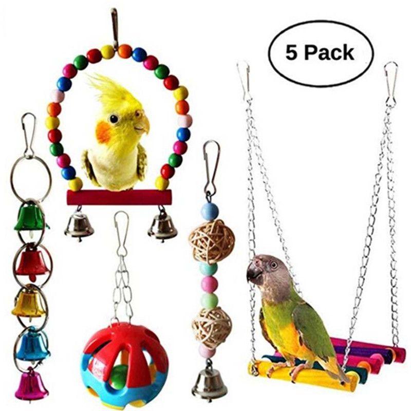 5 pcs papagaio brinquedo pássaro gaiola balanço hammock pet pássaro pendurado sino pendurado brinquedo suprimentos
