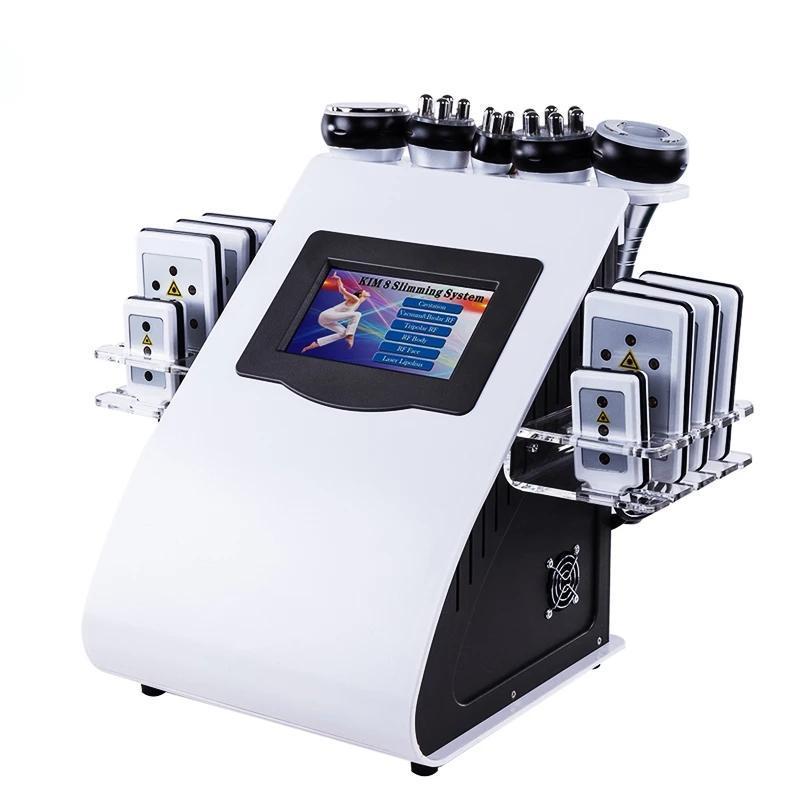 الموجات فوق الصوتية التجويف آلة التخسيس 6 في 1 40K فراغ تردد الراديو الليزر 8 منصات معدات تجميل
