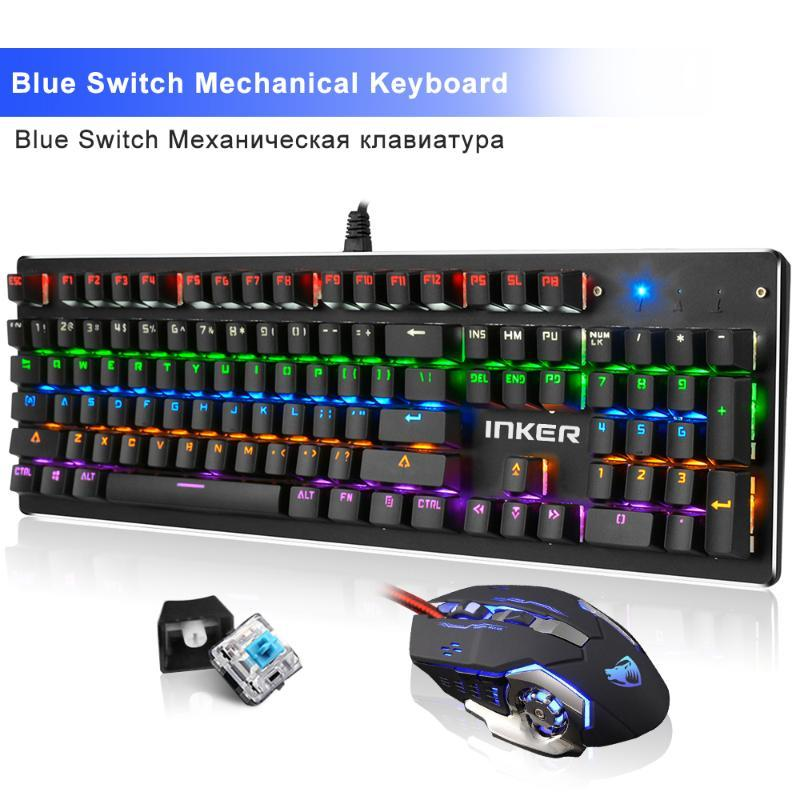 Blue Switch Mechanical Keyboard 104 Keys 13 LED Backlit Mode Gaming Keyboards for Laptop Desktop Wired USB teclado Gamer
