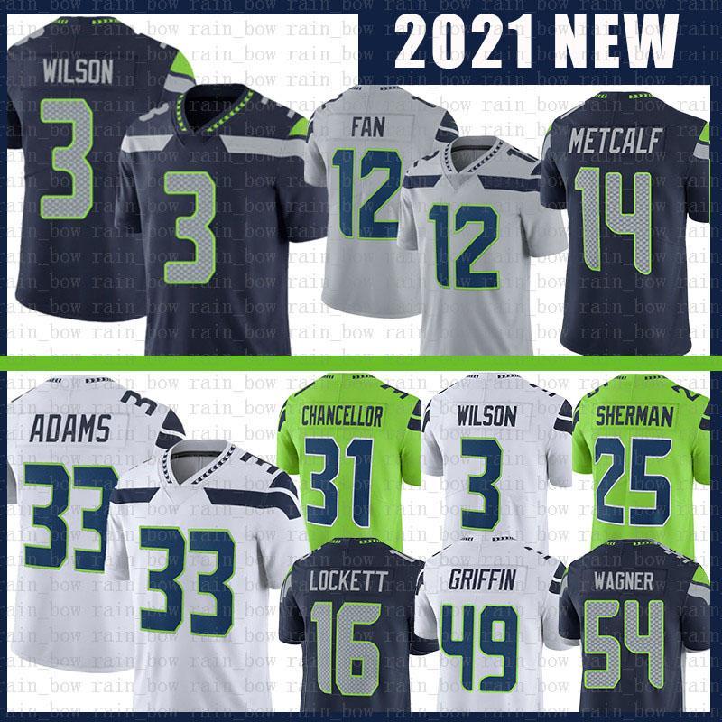 3 Russell Wilson 14 DK Metcalf Futbol Forması 33 Jamal Adams 54 Bobby Wagner 16 Tyler Lockett 12 12th Fan 12s Formalar