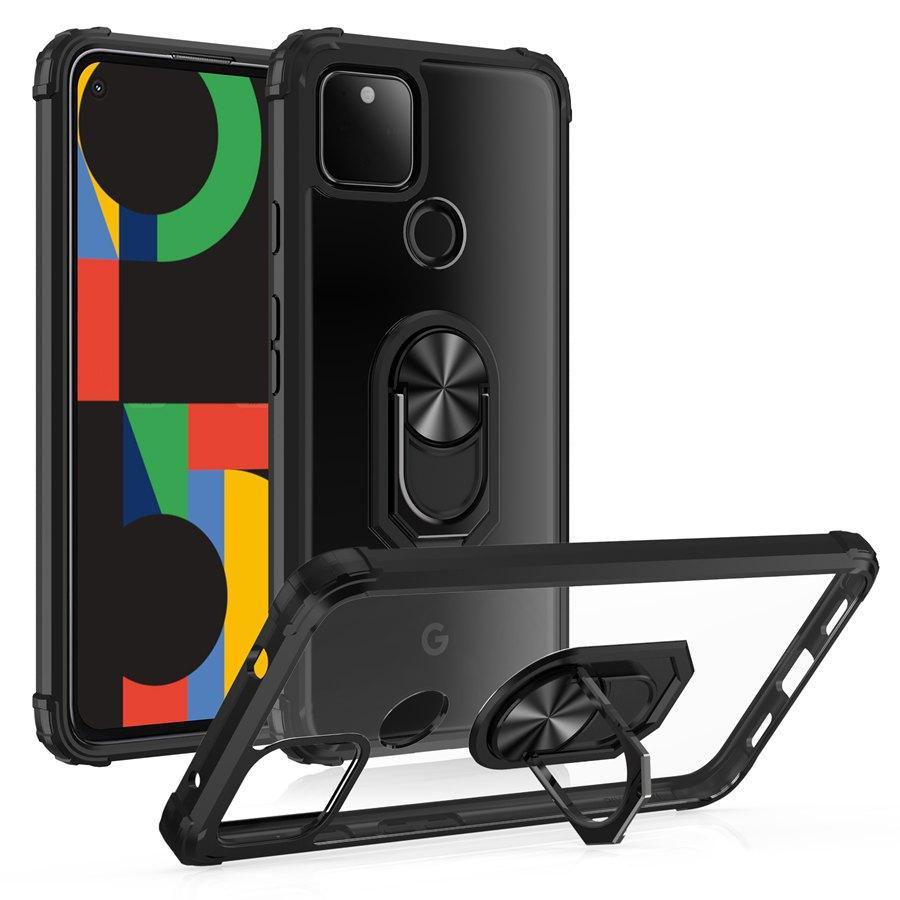 HD CLEAR 투명한 Shockproof 보호 케이스 링 카 마운트 Kiksstand Google Pixel 4A 5G / 4G 픽셀 5 XL