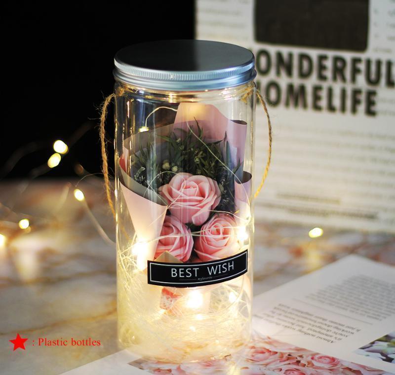 Jabón rosa led jabón flor botellas de plástico boda flor artificial floración día de san valentín día jllskw xhhair