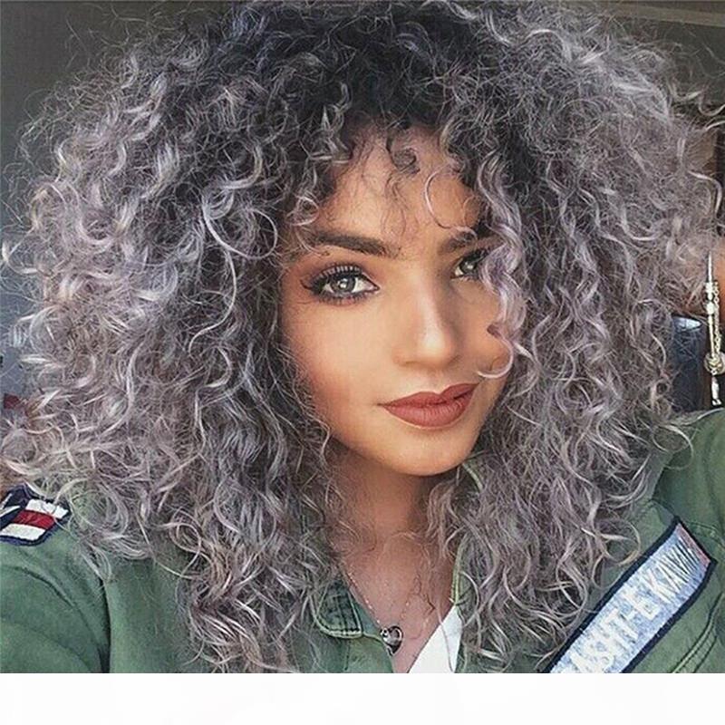 Mode ombre brasilianische menschliche haar 1b graue kinky lockige jungfrau menschliche haar volle spitzeperücke für schwarz freies verschiffen