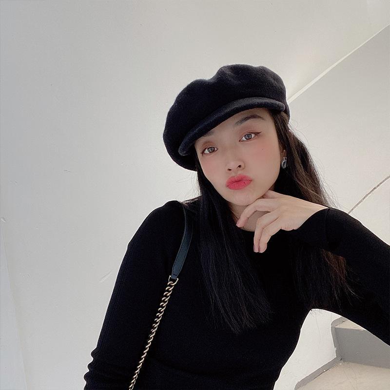 Şapka kız sonbahar kış yünlü kumaş çok yönlü edebi şapka marka baskı kişilik eğlence gazete çocuk şapka moda bailey klwe