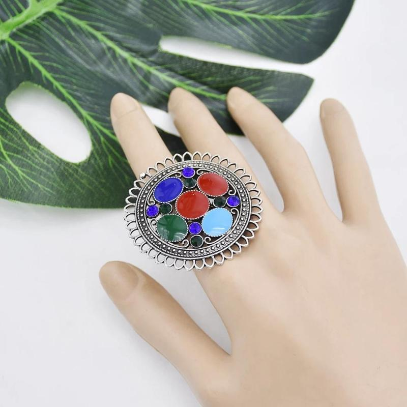 Nouveau big rond pour femmes vintage bijoux oxydés sonneries strass strass réglable gypsy tribal de la Saint-Valentin cadeau