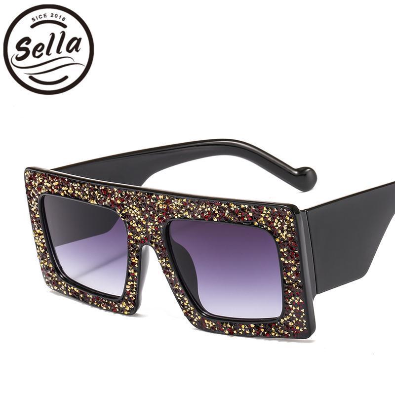 Sella New Tending Luxo Full Cristal Decoração Decoração Mulheres Oversized Square Sunglasses Retro Moda Leopardo Vermelho Vermelho óculos de verão