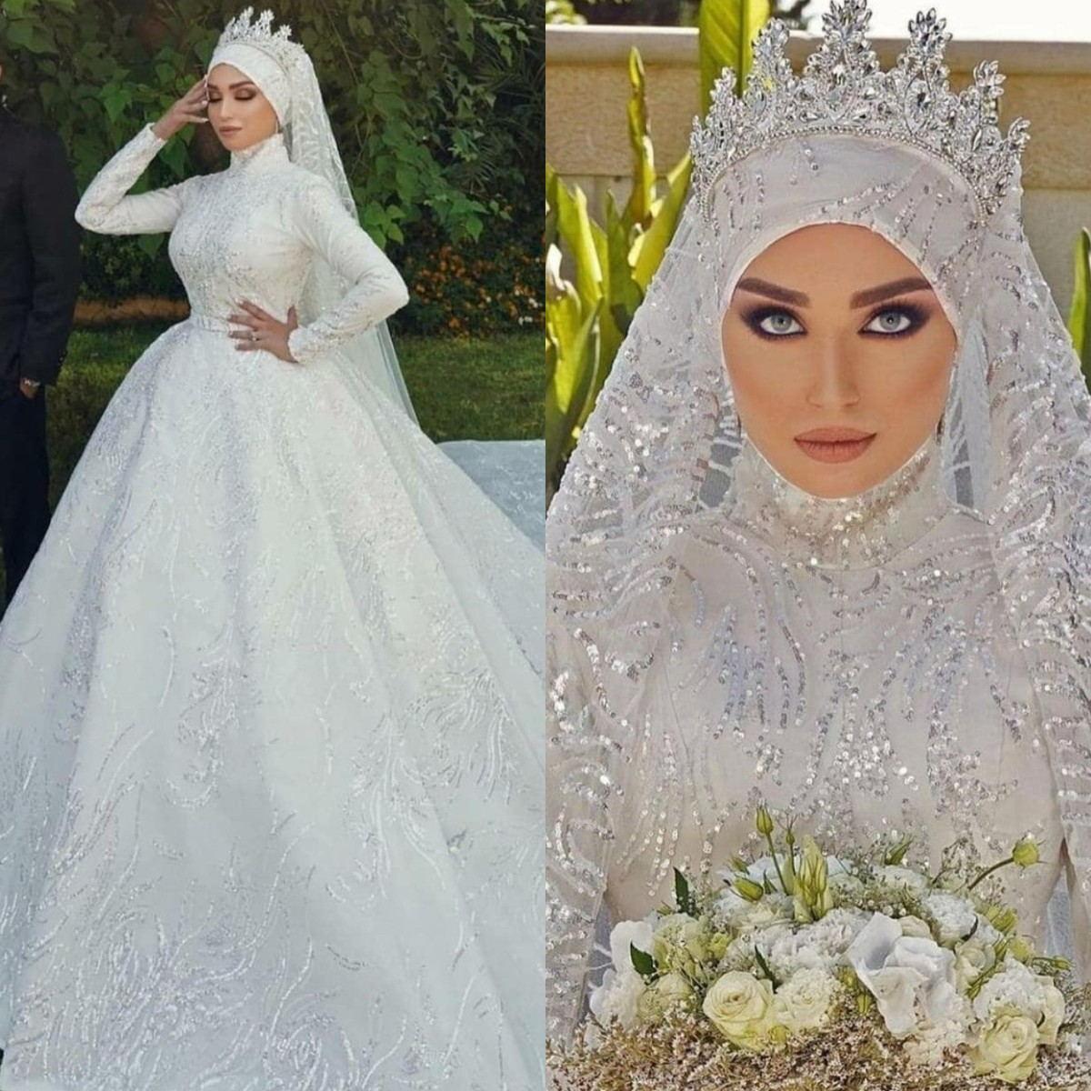 Parlak Sequins Müslüman Gelinlik ile Başörtüsü Uzun Kollu Boncuk Artı Boyutu Gelinlikler Arapça Lüks Robes de Mariée