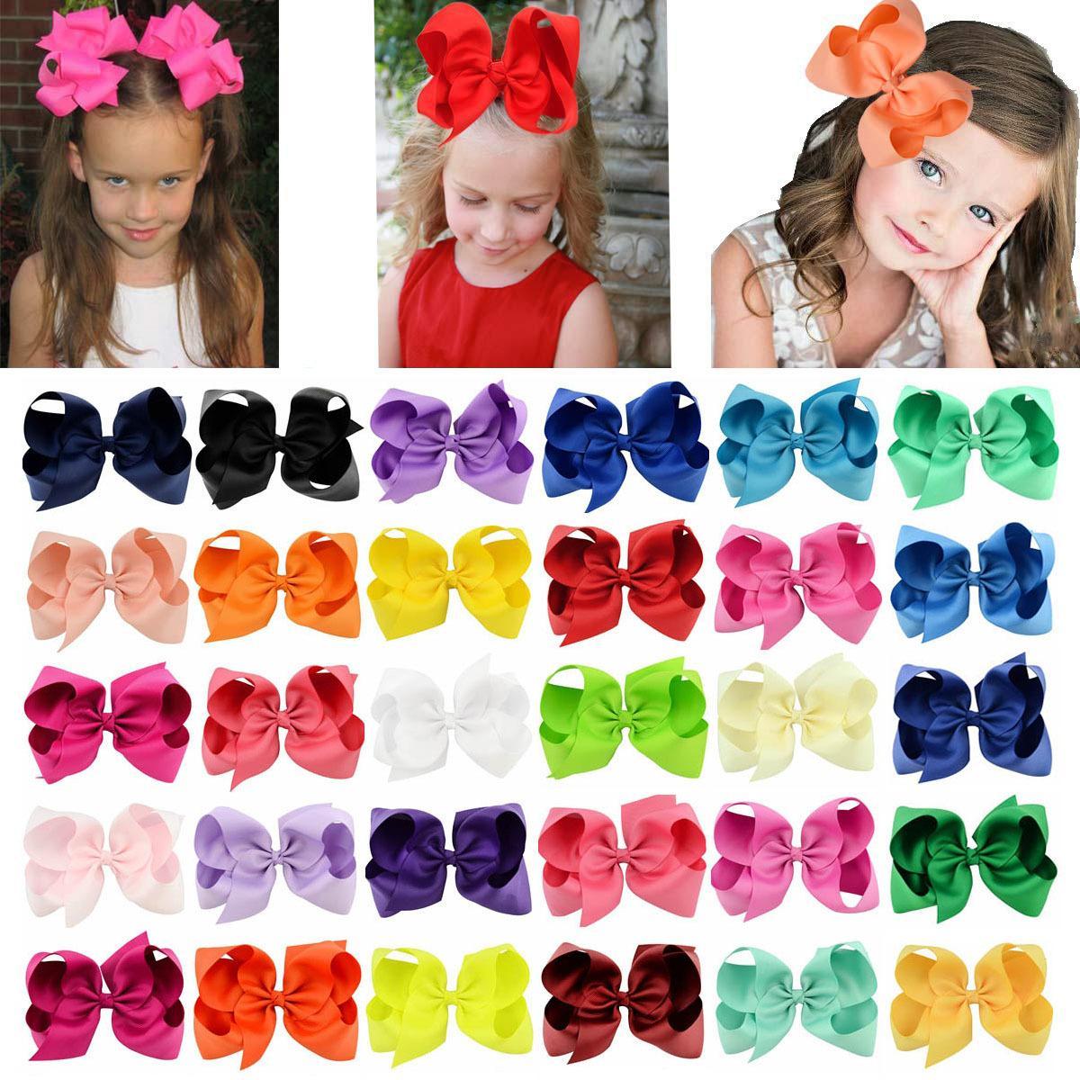 40 ألوان 6 بوصة الشريط القوس قوس دبوس مقاطع الفتيات كبير bowknot باريت أطفال الشعر بوتيك الانحناء الأطفال اكسسوارات للشعر للأطفال KFJ14