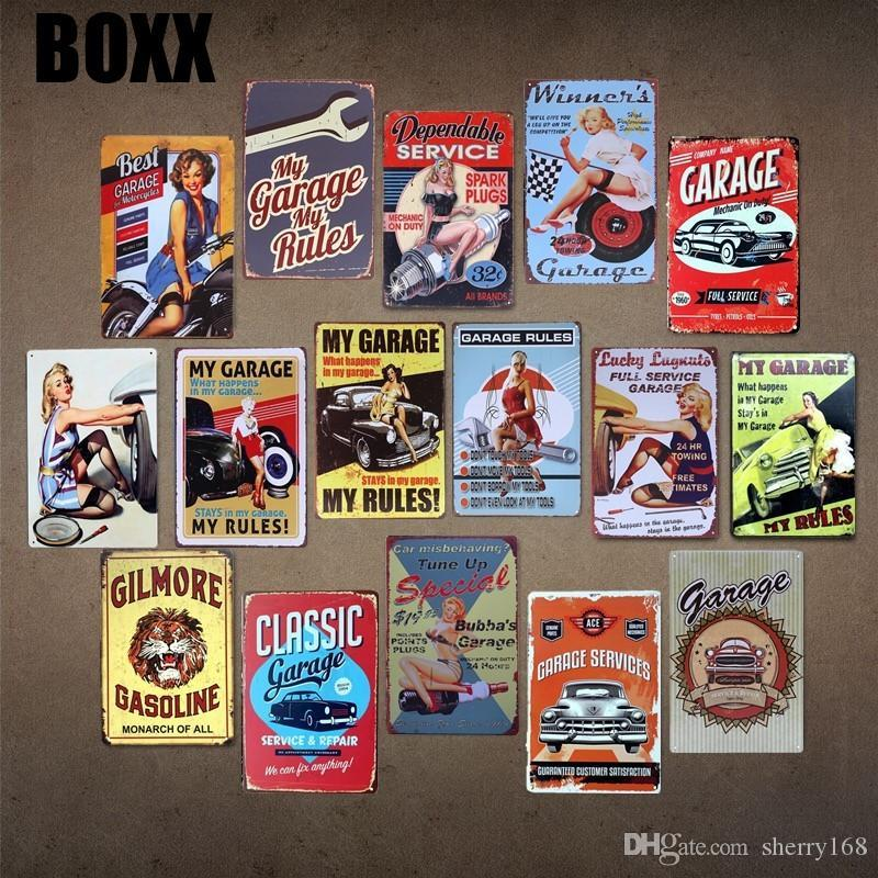 BEST GARAGE FOR MOTORCYCLES SEX LADY Vintage Tin Sign Bar pub home Wall Decor Retro Metal Poster